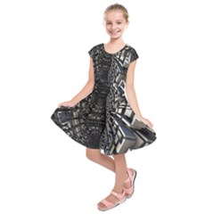 Fractal Art Pattern Kids  Short Sleeve Dress