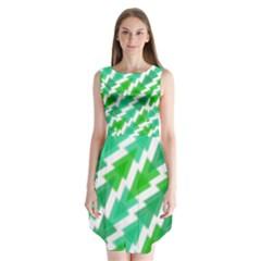 Geometric Art Pattern Sleeveless Chiffon Dress