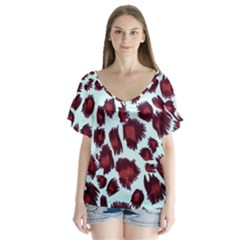 Jaguar Textile Background Flutter Sleeve Top