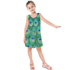 Peacock Feather Kids  Sleeveless Dress