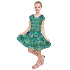 Peacock Feather Kids  Short Sleeve Dress