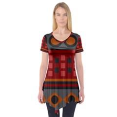 Red Aztec Short Sleeve Tunic