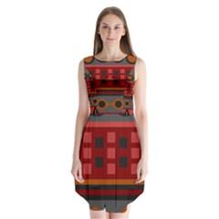Red Aztec Sleeveless Chiffon Dress