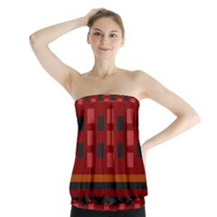 Red Aztec Strapless Top