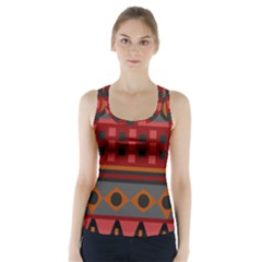 Red Aztec Racer Back Sports Top