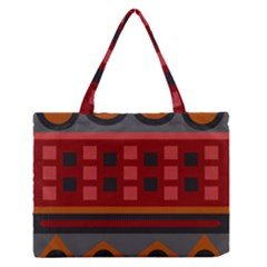 Red Aztec Medium Zipper Tote Bag