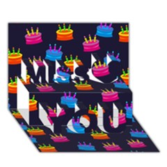 Seamless Tile Repeat Pattern Miss You 3D Greeting Card (7x5)