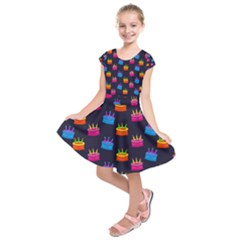 Seamless Tile Repeat Pattern Kids  Short Sleeve Dress