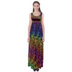 Fractal Art Design Colorful Empire Waist Maxi Dress