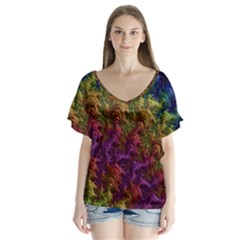 Fractal Art Design Colorful Flutter Sleeve Top