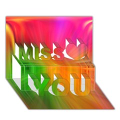 Texture Background Miss You 3d Greeting Card (7x5)