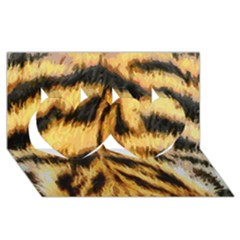 Tiger Fur Painting Twin Hearts 3d Greeting Card (8x4)