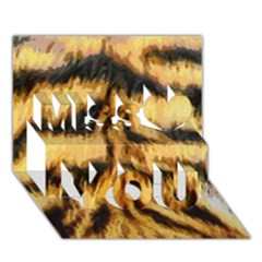Tiger Fur Painting Miss You 3d Greeting Card (7x5)