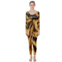 Tiger Fur Painting Long Sleeve Catsuit