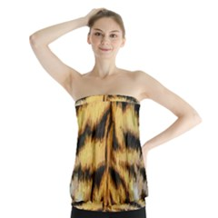 Tiger Fur Painting Strapless Top