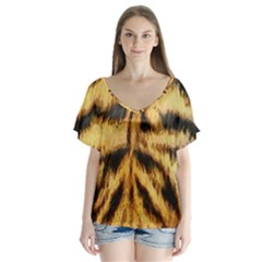 Tiger Fur Painting Flutter Sleeve Top