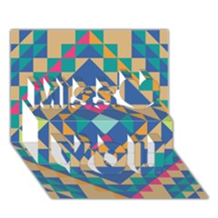Tiling Pattern Miss You 3D Greeting Card (7x5)