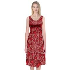 Fractal Art Elegant Red Midi Sleeveless Dress