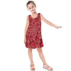 Fractal Art Elegant Red Kids  Sleeveless Dress