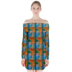 Wall Of Colour Duplication Long Sleeve Off Shoulder Dress