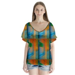 Wall Of Colour Duplication Flutter Sleeve Top