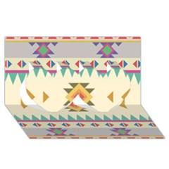 Your First Aztec Pattern Twin Hearts 3d Greeting Card (8x4)