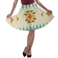 Your First Aztec Pattern A-line Skater Skirt