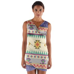 Your First Aztec Pattern Wrap Front Bodycon Dress