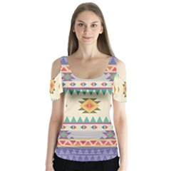 Your First Aztec Pattern Butterfly Sleeve Cutout Tee