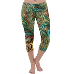 Fractal Artwork Pattern Digital Capri Yoga Leggings