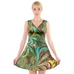 Fractal Artwork Pattern Digital V-Neck Sleeveless Skater Dress