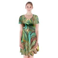 Fractal Artwork Pattern Digital Short Sleeve V-neck Flare Dress