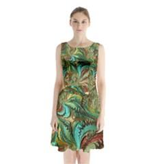 Fractal Artwork Pattern Digital Sleeveless Chiffon Waist Tie Dress