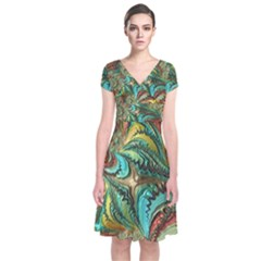 Fractal Artwork Pattern Digital Short Sleeve Front Wrap Dress