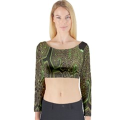 Fractal Complexity 3d Dimensional Long Sleeve Crop Top