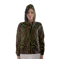 Fractal Complexity 3d Dimensional Hooded Wind Breaker (Women)
