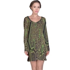 Fractal Complexity 3d Dimensional Long Sleeve Nightdress