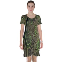 Fractal Complexity 3d Dimensional Short Sleeve Nightdress