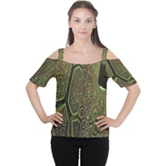 Fractal Complexity 3d Dimensional Women s Cutout Shoulder Tee