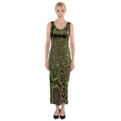 Fractal Complexity 3d Dimensional Fitted Maxi Dress