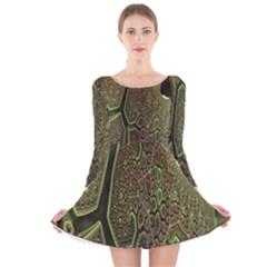 Fractal Complexity 3d Dimensional Long Sleeve Velvet Skater Dress
