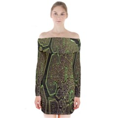 Fractal Complexity 3d Dimensional Long Sleeve Off Shoulder Dress