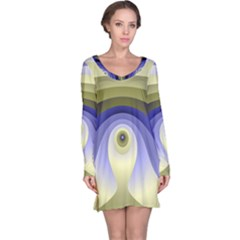 Fractal Eye Fantasy Digital  Long Sleeve Nightdress