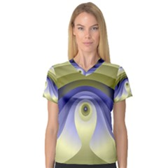 Fractal Eye Fantasy Digital  Women s V-Neck Sport Mesh Tee