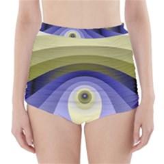Fractal Eye Fantasy Digital  High-Waisted Bikini Bottoms
