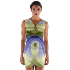 Fractal Eye Fantasy Digital  Wrap Front Bodycon Dress