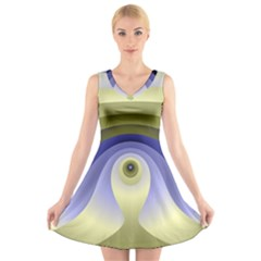 Fractal Eye Fantasy Digital  V-Neck Sleeveless Skater Dress