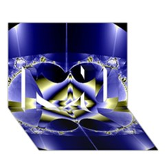 Fractal Fantasy Blue Beauty I Love You 3D Greeting Card (7x5)