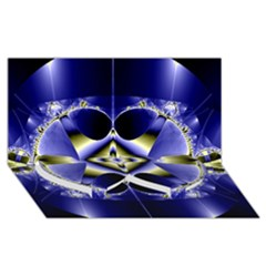 Fractal Fantasy Blue Beauty Twin Heart Bottom 3D Greeting Card (8x4)