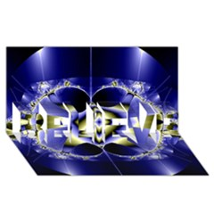 Fractal Fantasy Blue Beauty BELIEVE 3D Greeting Card (8x4)
